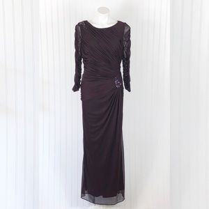 Adriana Papell Aubergine Ruched Evening Gown